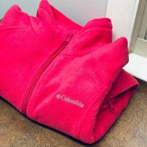 Popping Pink Columbia Zip Fleece Jacket